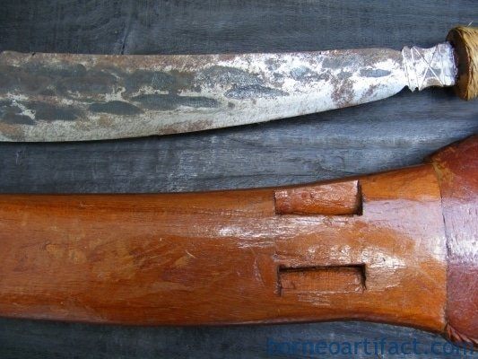 LEFT HANDED SWORD PARANG Head Hunting Butcher Knife Dagger Weapon Sarawak Borneo