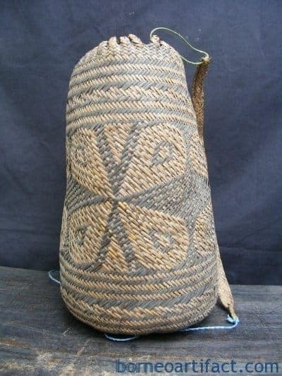 #10 AUTHENTIC NATIVE BASKET Old & Used Rosette Flower Tribal Backpack Sling Bag