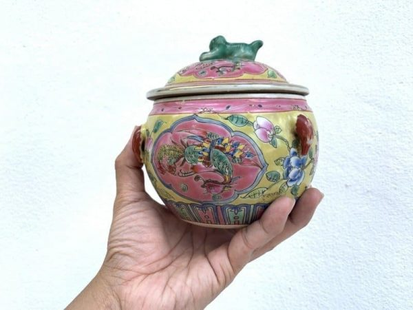 SMALL PAIR 140mm KAMCHENG PROSPERITY PHOENIX Covered Jar Porcelain Chinese Pot