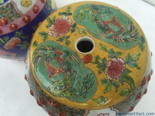 ONE PAIR Nyonya Stool 200mm Chair Bench Phoenix Chinese Porcelain Furniture