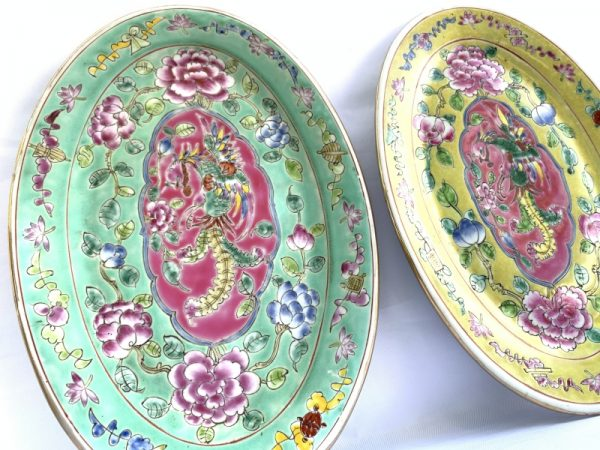 Nyonya PLATE, Phoenix In-Flight Baba Nyonya PLATE SERVING DISH Dining Food Wedding Ceramic Art