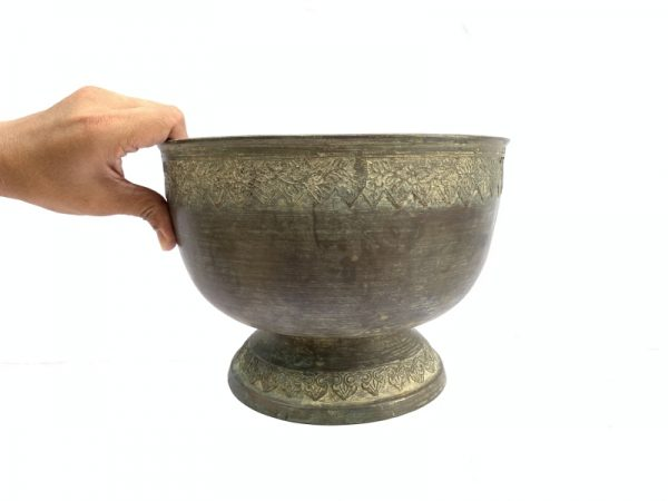 ANTIQUE BRASS BOWL, ANTIQUE BRASS BOWL 255mm Xxxl Cup Sulang Vintage Hand-forged Asian Pedestal