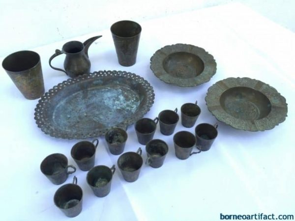 Dining Set Borneo, OLD COLLECTION 18 piece STUNNING Brass Dining Set Borneo Cup Tray Jar Tea Coffee