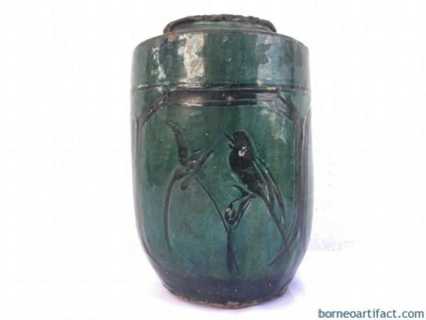 ANTIQUE WINE JAR 235mm Stunning Green Ching Dynasty Pot Liquir Pottery Pitcher