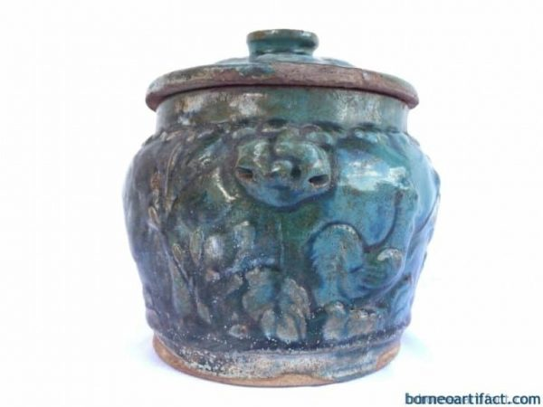 GLAZED GREEN 190mm ANTIQUE Kamcheng Covered Jar Pot Box Food Serving Chinese Art
