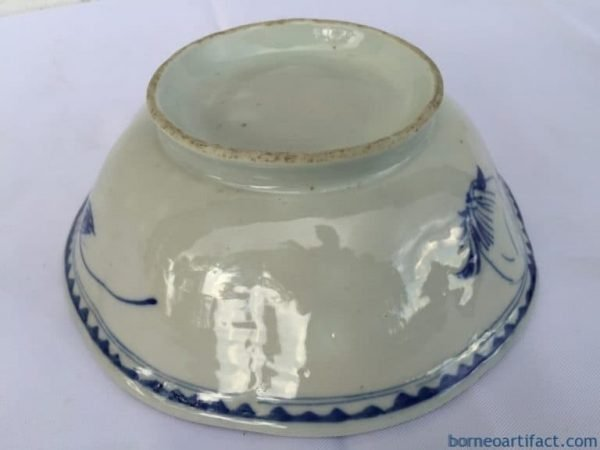 OLD 195mm BLUE WHITE Rice Noodle Bowl Plate Tray Chinese Porcelain Dining Borneo