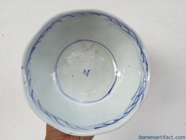 Old Plate, BLUE WHITE 190mm BOWL Rice Noodle Old Plate Tray Chinese Porcelain Dining Borneo