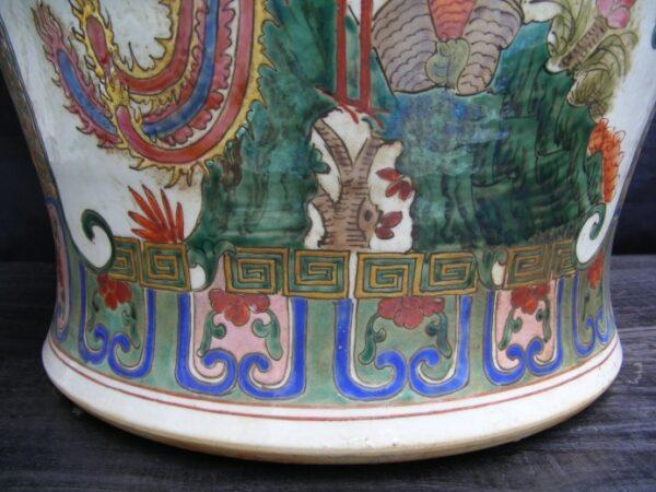 Phoenix Vase Pottery, MASSIVE HUMAN SIZE 820mm Covered Pot Ginger Jar Dragon and Phoenix Vase Pottery