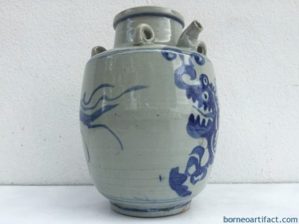 BLUE NAGA JAR 240mm Qing Dynasty (1644-1912) Alcohol Pot Pitcher Pourer Kettle