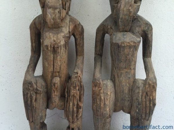 WEATHERED ANCESTRAL STATUE, WEATHERED ANCESTRAL STATUE (ONE Pair) Dayak Figure Sculpture Guardian Mythical