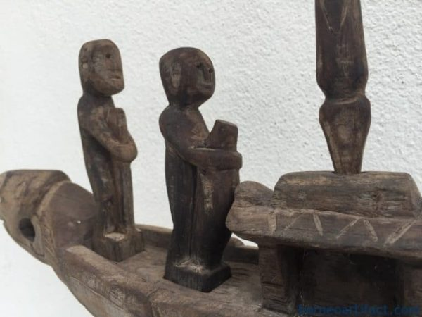 COFFIN BOAT ON STAND, COFFIN BOAT ON STAND 400mm LOVELY VESSEL Native Sculpture Statue Figure Dayak