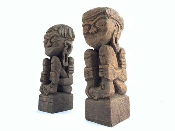 DAYAK BAHAU Miniature Statue, SCULPTURE ART 170mm DAYAK BAHAU Miniature Statue Human People Figure Asia Tribe