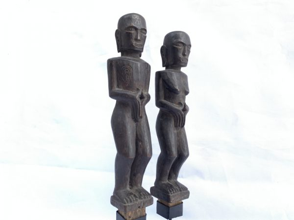 BATAK COUPLE 210mm ARTIFACT Ancestral Facial Sculpture Tribal Fertility Statue Indonesia