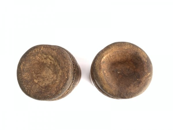 BATAK CONTAINER 145mm (1 Pair) BAMBOO Betel Powder Nut Tribal Box Figure Traditional Native Asia