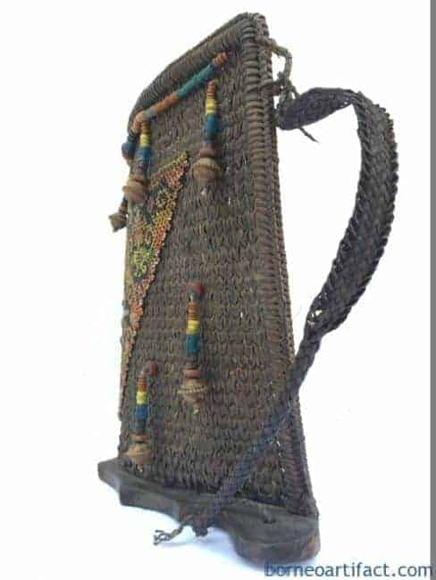 BABY CARRIER of BORNEO Child Backpack Tribe Tribal Asia Beads Rattan Wall Home Office Deco
