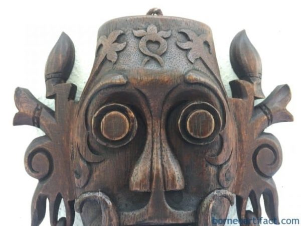 KENYAH MASK 170mm Soul Catching Dayak Borneo Art Artwork Wall Hanging Deco