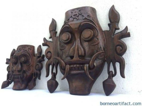 ONE PAIR 170mm & 280mm MASK Tribal Face Borneo Dayak Wall Hanging Deco Sculpture Statue