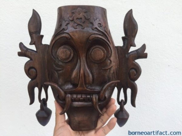 MASK Tribal Face, ONE PAIR 170mm & 280mm MASK Tribal Face Borneo Dayak Wall Hanging Deco Sculpture Statue