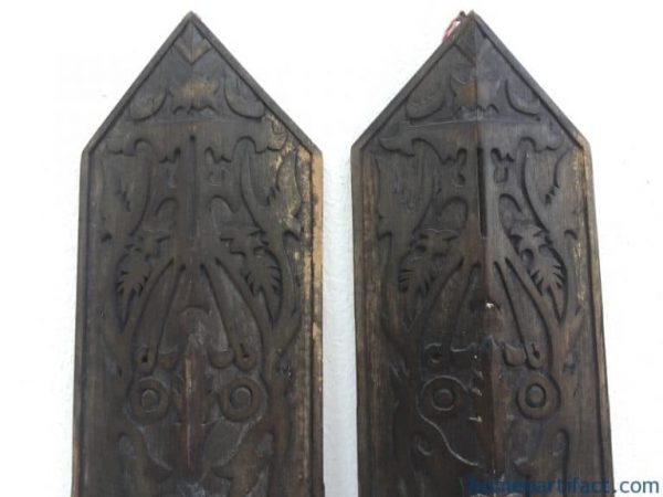 TRIBAL PAINTING x 2 OLD WALL PANEL Shield Figure Statue Sculpture Dayak Dyak Native Asia