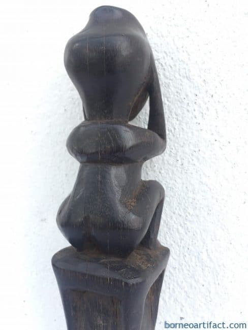 Carved Wood Statue Figure Figurine, SACRED HUNTING POLE 300mm Carved Wood Statue Figure Figurine Tribal Native Borneo