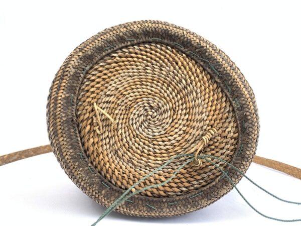 AUTHENTIC ethnic BASKET 280mm Traditional Borneo Weaving Woven Fiber Art Rattan Bag #5