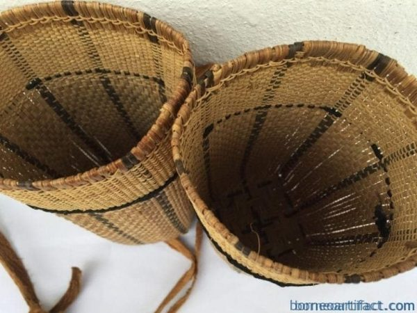 one pair 240mm borneo basket rattan & treebark traditional fiber art sling bag backpack