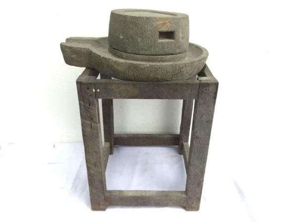 STONE GRINDER, ANTIQUE 420mm STONE GRINDER Grind Primitive Asian Traditional Tool Soya Bean Rice