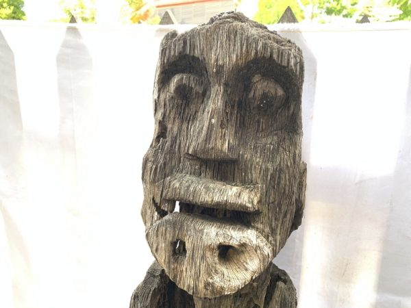 WEATHERED GUARDIAN STATUE 1.4meter Massive Eroded Dayak antique Figure Sculpture Outdoor Yard Garden Tribal Art
