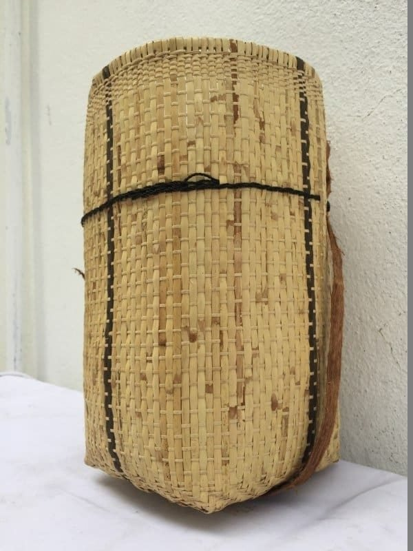TRAVEL ASIA 270mm BASKET Rattan & Treebark Traditional Fiber Art Sling Bag Backpack Tribal Weaving