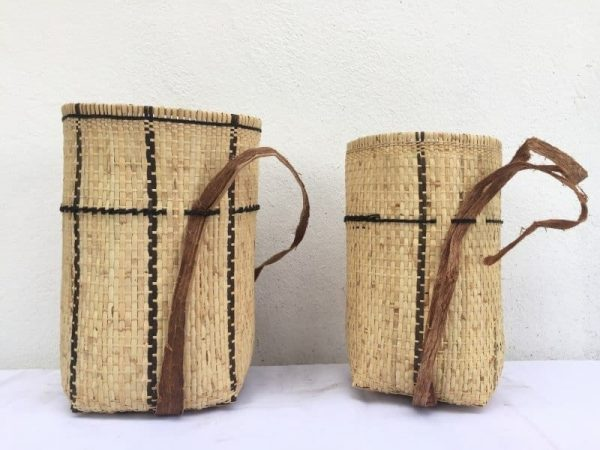 ONE PAIR 270mm Asian Craft BASKET Art Rattan & Treebark Traditional Fiber Art Sling Bag Backpack