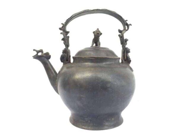 ANTIQUE KETTLE, ASIAN 9.2 lb ANTIQUE KETTLE Teko Pot Teakettle Kitchen Brass Ware Drinkware