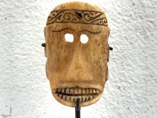 BONE MASK 95mm On Stand LETI INDONESIA Tribal Facial Asia Asian Art Culture