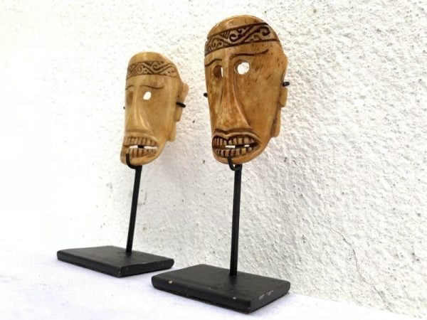 (ONE PAIR) BONE MASK On Stand LETI INDONESIA Tribal Facial Asia Asian Art Culture