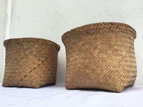 SEED BASKET One Pair BAKUL Forest Jungle Bag Travel Asia Asian Fiber Art Weaving