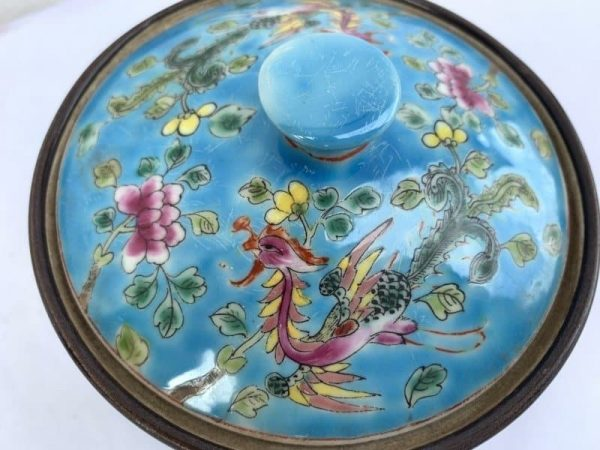 RARE BLUE 130mm PHOENIX CHUPU Covered Jar Box Container Bowl Asia Asian Ceramic Art