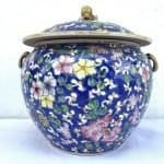 DENSE FLORA 8.3″ BLUE KAMCHENG Peranakan Nyonya Chinese Ceramic Covered Jar Container Asian Art Culture