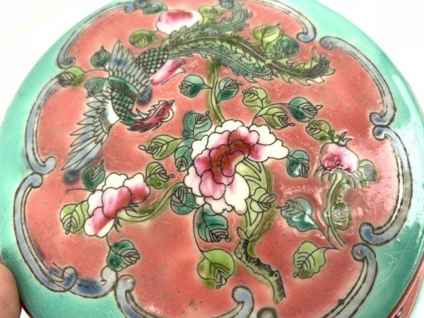 MEDICINE and HERB 160mm CERAMIC BOX Container Covered Jar Asia Art Porcelain