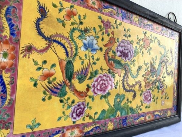 XXXL LARGE (500mm x 870mm) CERAMIC PAINTING Phoenix Chinese Asia Asian Art Culture