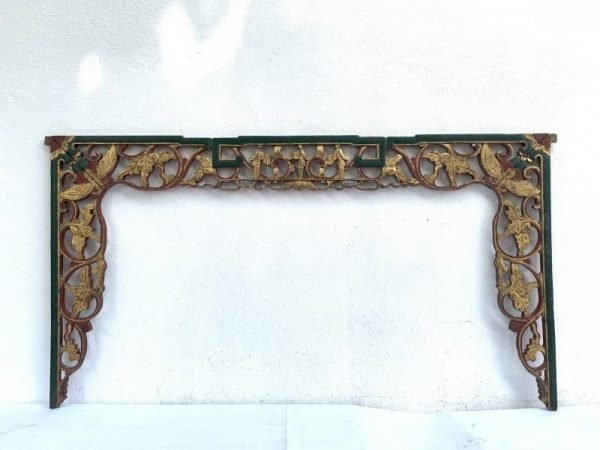 #1 LARGE ANTIQUE CHINESE (610 x 1140 mm) BED PANEL Red And Gilt Wood Asian Culture