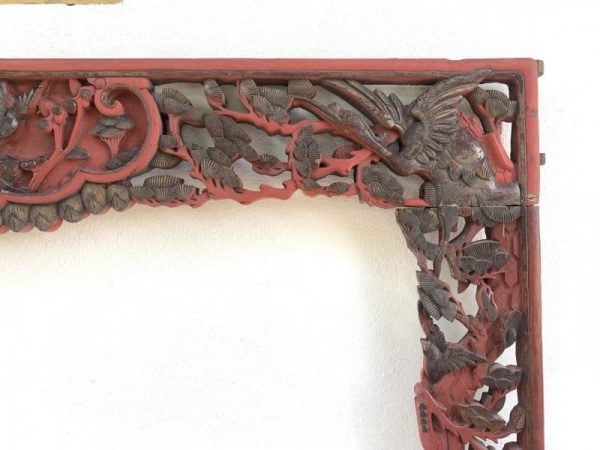 #3 ANIMAL AND FLORA (1180 x 1600 mm) SUPERSIZE Antique Chinese Wood Panel Carving Asian Bed Art