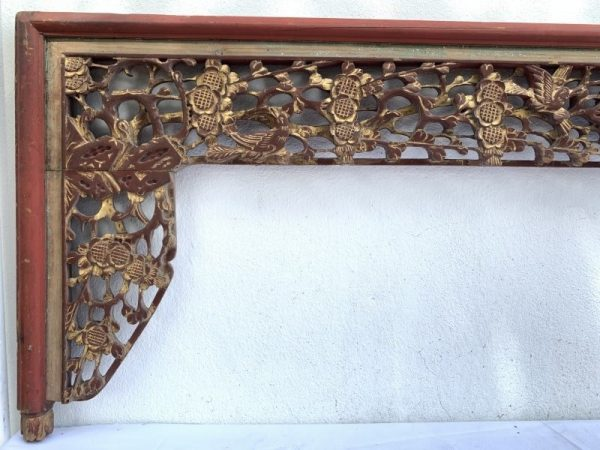 DENSE FLORA (XXL 550 x 1960 mm) RED AND GILT Antique Chinese Bed Panel Asian Art Wood Carving Peranakan