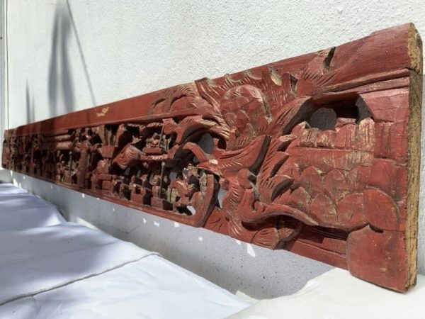 Chinese panel, #6 DEEP MOTIF FAMILLE ROSE (Length: 1810mm) ANTIQUE CHINESE PANEL Wood Carving Asia Baba Nyonya Art