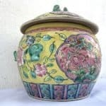 YELLOW and GREEN 215mm Covered Jar Kamcheng Peranakan Baba Nyonya Porcelain Chinese Asia Asian Art