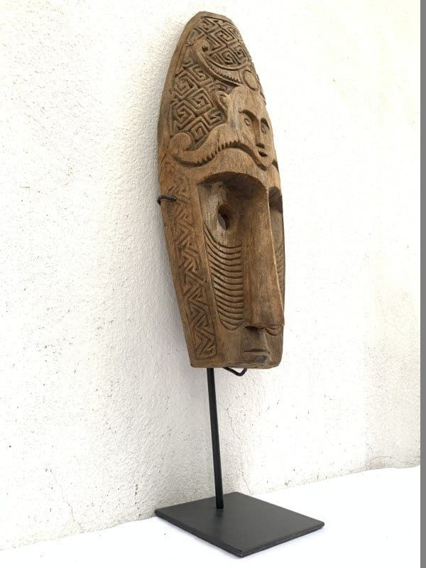 NIAS MASK (560mm On Stand) TRIBAL FACIAL Indonesia Sculpture Figure Statue Asia Asian Art Artifact