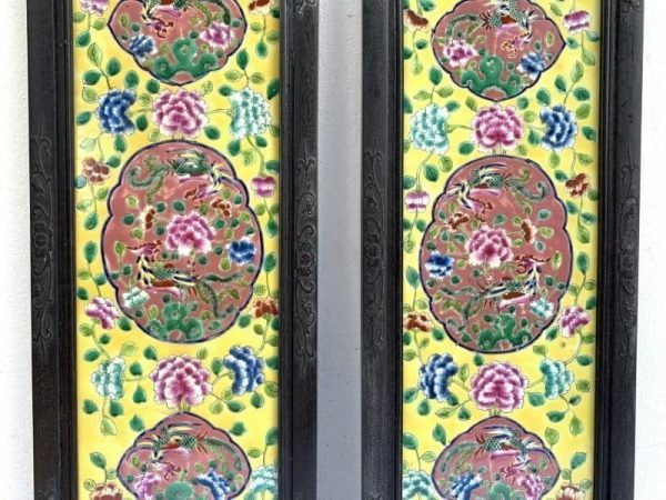 nyonya painting, YELLOW PANEL (ONE PAIR) 810mm NYONYA PAINTING Phoenix & Peonies Porcelain Wall Drawing Peranakan Asia