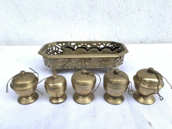 Betel Nut, 5 in 1 Betel Nut Container Set (Brass Authentic Vintage Old Asia Box Jewelry)