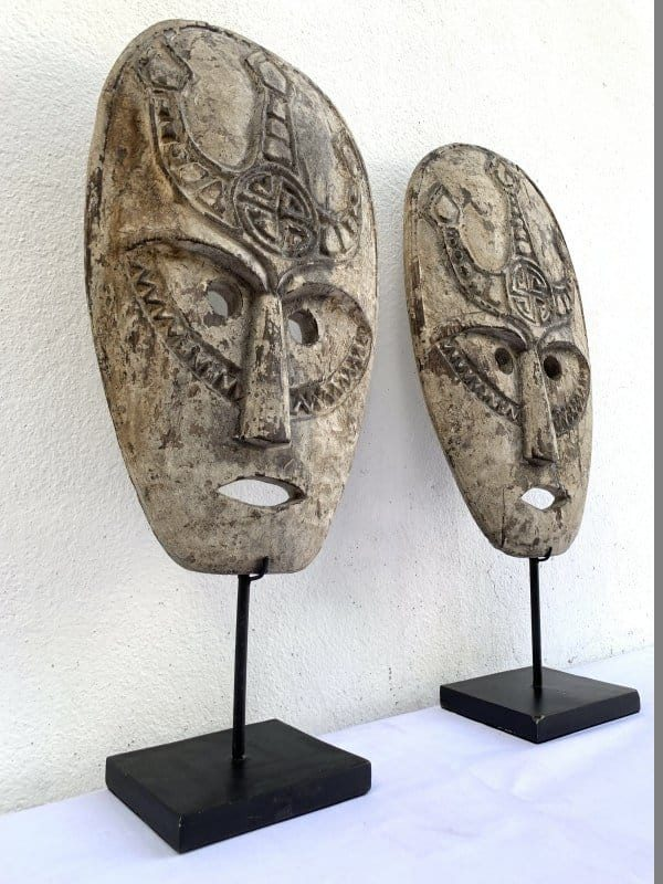 shaman, Rare Pair Flores Manggarai Shaman Mask Aged Artifact Timor Indonesia Statue Figure Sculpture
