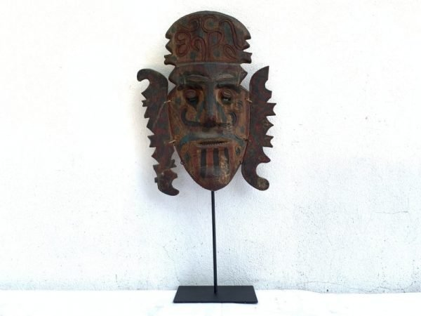 headhunter, Dayak Old Mask (660mm On Stand) Headhunter Tribal Masque Face Facial Statue Sculpture Figure Figurine