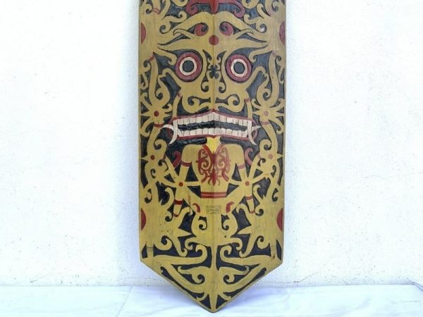 Native Armor 1245mm Tribal Shield Headhunter Dayak Borneo Wood carving Painting Drawing