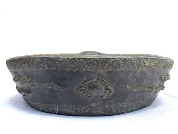 ANTIQUE GONG 480mm BRUNEI MUSEUM PIECE Raised Crocodile & Naga Brass Drum Vintage